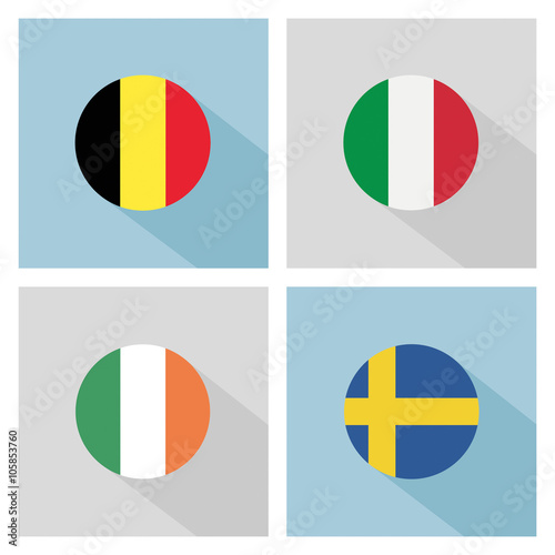 soccer group E teams flags in flat design. UEFA euro 2016. Poster