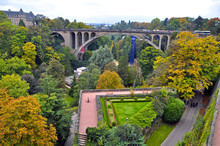 View Of Constitution Square And Adolphe Bridge In The City Of Luxembourg