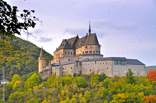Fototapeta Medieval Castle of Vianden on top of the mountain in Luxembourg