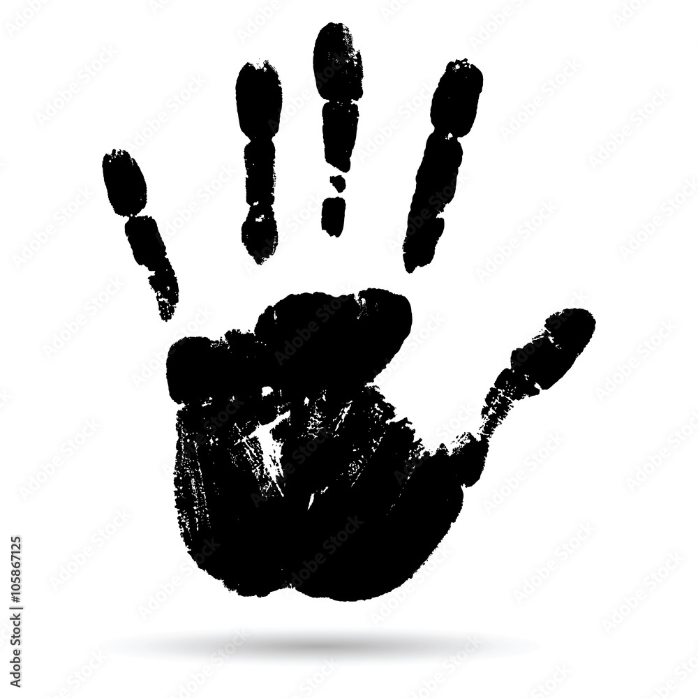 Fototapeta Conceptual black paint human hand or handprint of child