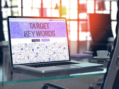 Photo  Target Keywords - Closeup Landing Page in Doodle Design Style on Laptop Screen