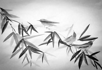 Panel Szklany Japoński bamboo and three birdies branch