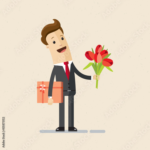 Manager Or Businessman With Flowers And Gift Happy Birthday Valentines Day Flat Isolated Vector Illustration