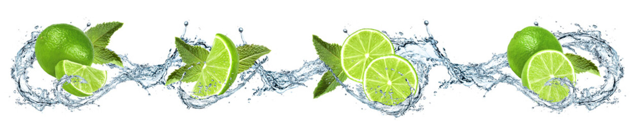 Obraz na Szkle Limonki oblane wodą