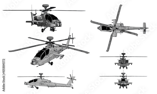 helicopter apache Wallpaper Mural