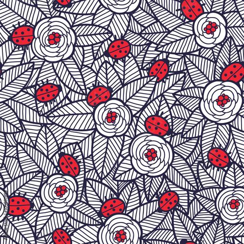 Wzór kwiaty i biedronki