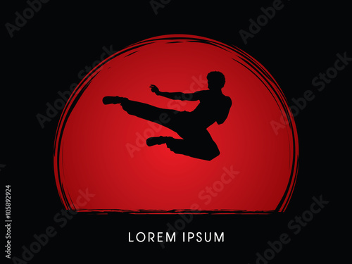 Fotografering  Kung fu, Karate jump kick , designed on sunset or sunrise background graphic vector