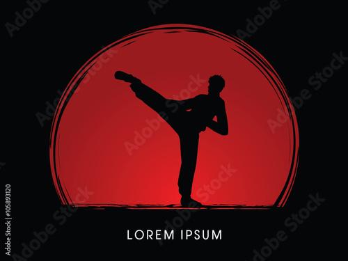 Fototapeta Kung fu pose, man kicking designed on sunset or sunrise background graphic vector