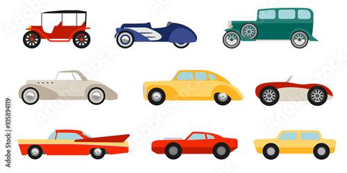 Fotografía  Flat style classic cars set