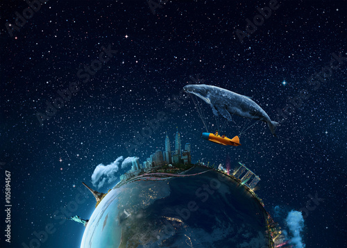 Take me to the dream - Extremely detailed image including elements furnished by NASA Canvas Print