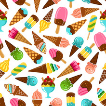 Ice Cream Desserts Seamless Pattern Of Vanilla And Caramel, Mint, Pistachio And Fruity Flavored Ice Cream Scoops And Waffle Cones, Rainbow Popsicles On Sticks And Sundae Ice Cream  With Chocolate