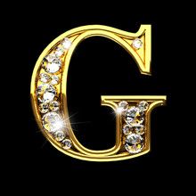 G Isolated Golden Letters With...