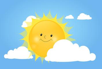 Cute sun behind white cloud