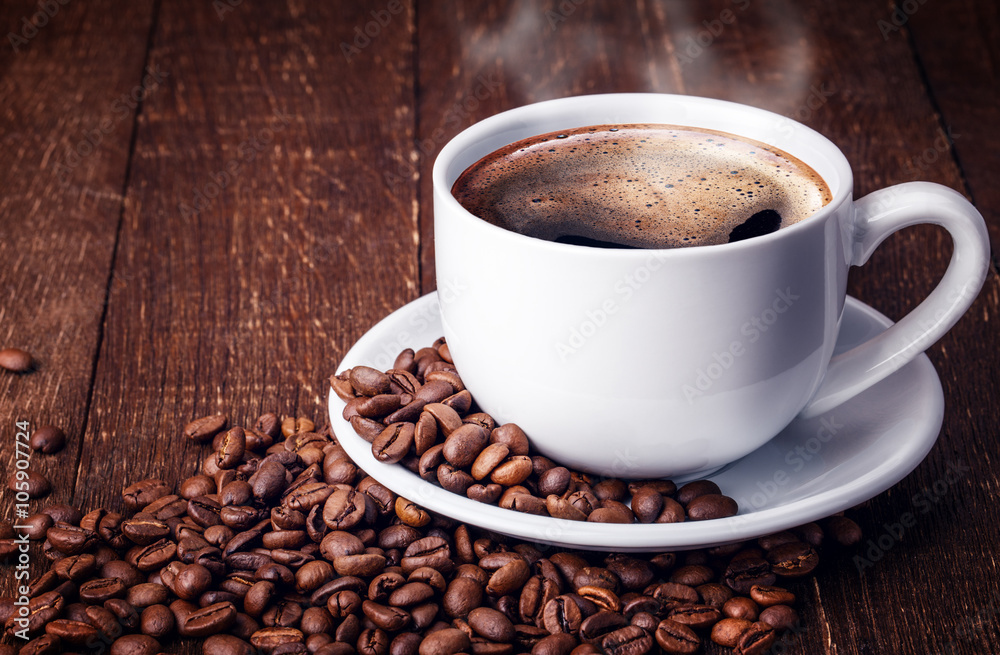 Cup coffee beans wooden