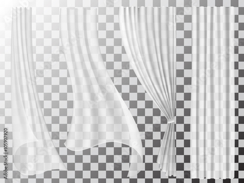 Photo Set of transparent curtains different forms
