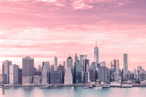 Aerial view of downtown Manhattan Skyline from Brooklyn Heights at sunset Poster