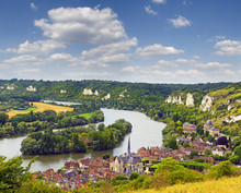 The River Seine And Les Andelys, Normandy, France