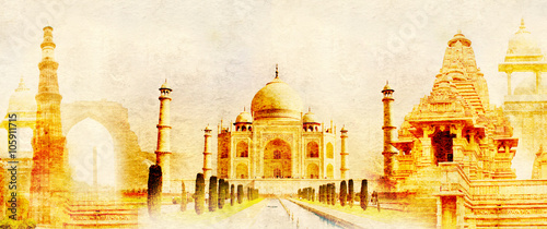 Stickers pour porte Delhi Grunge background with paper texture and landmarks of India
