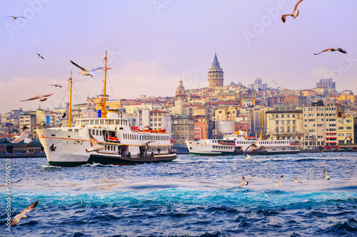 Printed kitchen splashbacks Purple Galata tower and Golden Horn, Istanbul, Turkey