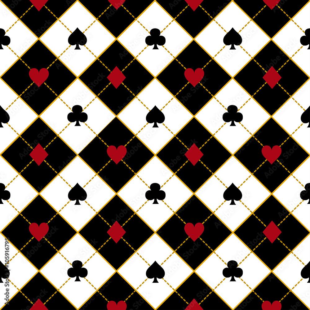 Fotografía Card Suits Royal Red Black Diamond Background Vector