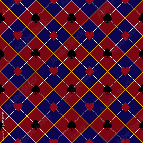 Card Suits Red Royal Blue Diamond Background Vector Illustration