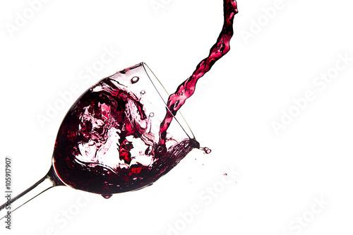 Fotografie, Obraz  Bicchiere di vino con riempito schizzi