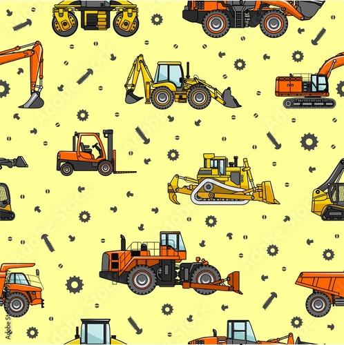 Foto op Aluminium Op straat Heavy construction and mining machines seamless pattern. Vector illustration.