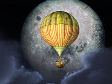 Fantasy Hot Air Balloon In Front Of The Moon
