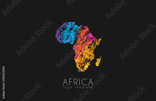 Abstract africa logo. Color Africa logo. Colorful logo design.