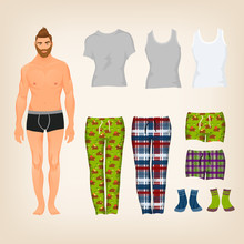 Vector Dress Up Male Paper Doll With An Assortment Of Freestyle