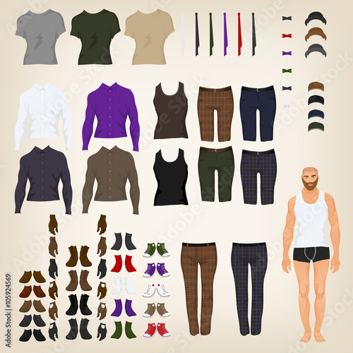 Photographie  Vector hipster dress up doll with an assortment of hipster cloth