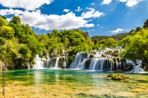 Photo Stands Waterfalls Waterfall In Krka National Park -Dalmatia, Croatia