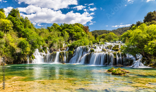 Autocollant pour porte Cascade Waterfall In Krka National Park -Dalmatia, Croatia