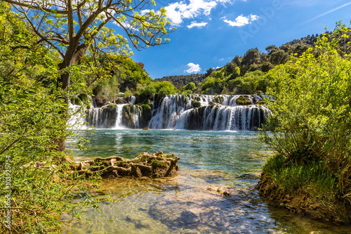 Foto op Canvas Watervallen Waterfall In Krka National Park -Dalmatia, Croatia