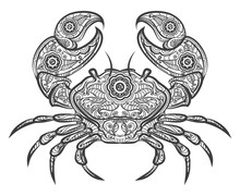 Crab Zentangle Icon. Vector Ha...