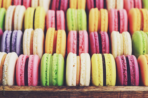 Deurstickers Macarons Macaroons mix - pistachio, strawberry, blackberry, lavender, vanilla, chocolate, coffee and mint