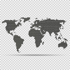 Fototapeta na wymiar World map in dots on isolated background