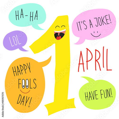Cute April Fools Day Background As Smiling Cartoon Character