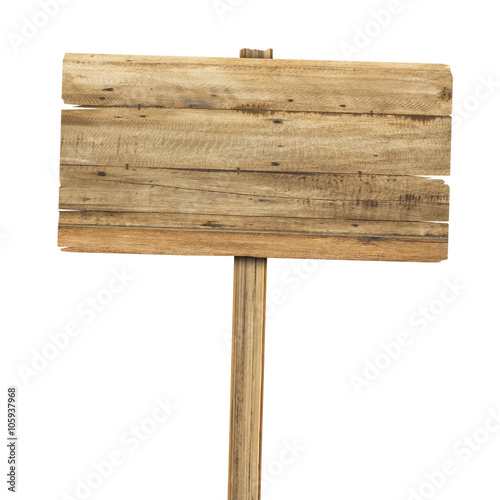 Stampa su Tela Wooden sign isolated on white. Wood old planks sign