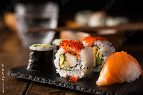Maki and nigiri sushi