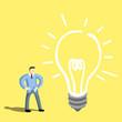 Businessman get big idea bulb.