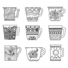 Nine Tea Cups Line Art Design For Coloring Book For Anti Stress, Menu Design Element Or Other Decorations
