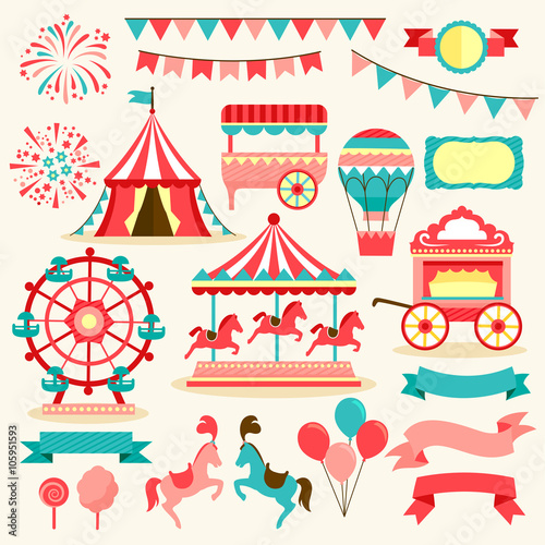 collection of elements related to carnival and circus Wallpaper Mural