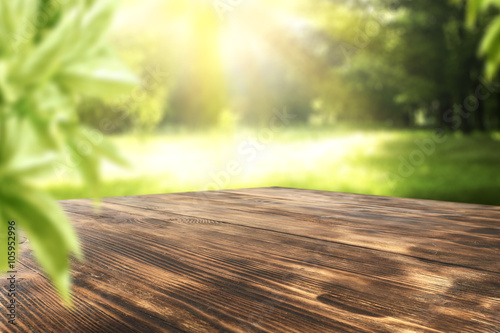 Poster Jardin wooden desk and garden space