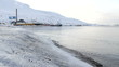 Ice coast of the Arctic Ocean. The surroundings of Longyearbyen, Svalbard. Norway. A cloudy day in March.