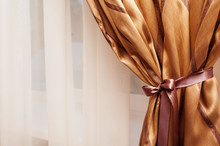 Tradition Elegant Background With Curtain In The Room Gold Color