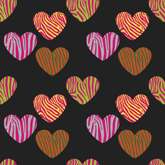 Fototapeta Zebry Seamless pattern with heart shapes