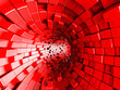 canvas print picture - Red Tunnel Abstract Architecture Background