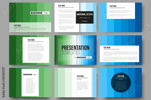 a782b982e64b Set of 9 templates for presentation slides. Abstract colorful business  background