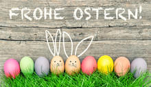 Easter Eggs Cute Bunny. Frohe Ostern Happy Easter German